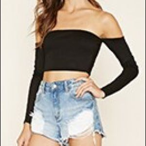 Forever 21 off the shoulder crop top NWT